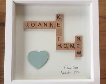 Personalised new home scrabble letter gift - moving house/celebration