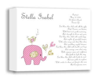 Canvas Nursery Art - Baptism Gift - Christening Gifts for Girls -Baby Girl Personalized Print - Name Wall Art for Nursery