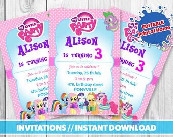 Editable MY LITTLE PONY party Invitation / / Printable invitations //My little pony instant download / / Pony birthday party