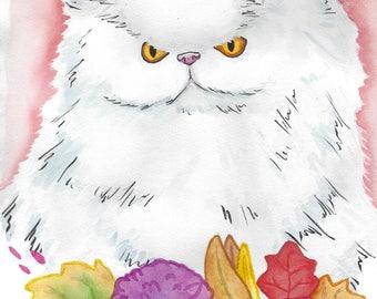 Persian Cat - Watercolor Pet Portrait (PRINT)