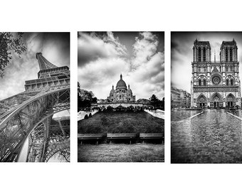 Black and White Paris Print Set - Set of 3 Paris photos black Paris black and white Paris photography prints Eiffel Tower