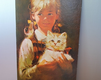 "Vintage Winde Fine Prints - ""Sweet Friends"" - by Tomaso - textured Litho - unframed - no. 461 - 12"" x 24"" - Portrait - Girl with Cat"