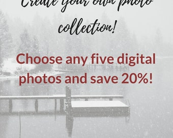 Custom collection set of 5 prints digital print set printable art home decor black and white wall art fine art photography instant download