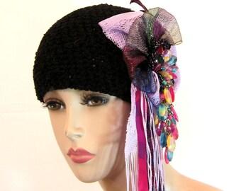 Unusual handmade womens hat beanie black hat statement hat millinery original designer hat black beanie unique hats for women fascinator hat