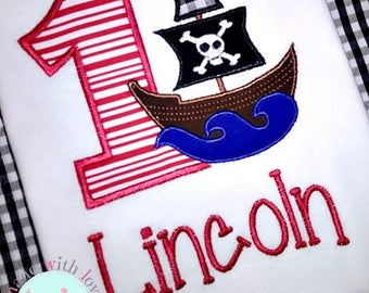 Pirate Birthday Shirt-Pirate Ship Birthday Shirt-Pirate Birthday Party-Pirate Ship Shirt-Custom Birthday Shirt