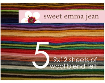 9x12 Wool Felt Sheets - Choose any FIVE wool blend felt sheets