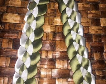 White And Sage Satin Ribbon Lei