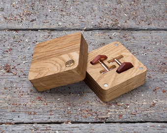 Monogrammed Wood Cufflinks, gift box, Hexagon red padauk wooden cufflinks, wedding groomsman set cufflinks of 2-6-10-14-18 boyfriend gifts