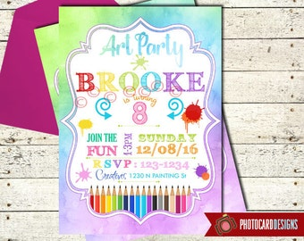 Art Party Invitation, Art Party, Craft Party Invitation, Art Birthday, Party, Painting Party, Paint Party, Card, Printable, Digital, invite