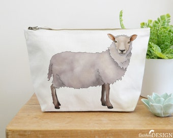 Sheep Canvas Wash Bag, Large Zipper Pouch, Makeup Bag, Toiletry Bag, Accessory Bag, Sheep Gift