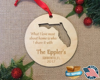 Personalized Florida Ornaments *** Home Ornament *** Family Gift *** Stocking Stuffer *** Personalized *** Christmas Holiday Ornament ***