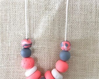 Peach and grey handmade polymer clay chunky necklace, 70cm polyester cord with breakaway clasp