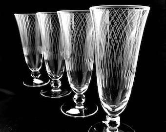 4 Vintage Fluted Champagne Glasses Rosenthal Etched Crystal Champagne Flutes
