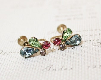 Vintage Rhinestones Earrings, Multicolor Earrings, Teardrop Earrings, Pink Green Blue Earrings