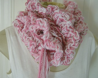 Long Pink Boa Fluffy Scarf Ruffled Raspberry Pink and White
