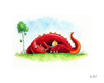 The Red Dragon and the Sleepy Boy Watercolor Print