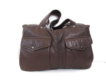 The Reagan Recycled Leather Handbag in Dark Brown Free Priority Shipping in the USA Handmade by 14xbags