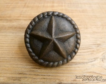 "Large 2"" Cast Iron Star Knob with Rope Border - Texas Star Knob - Western Drawer Pull - Lasso Cowboy Theme - Country Rustic Cabinet Decor"
