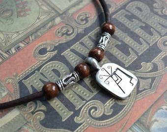 Kokopelli Leder Mens Halskette, Herrenschmuck, Männergeschenk, Anhänger, vorne Schnur