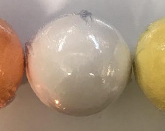Set of three fragrant handmade bath bombs