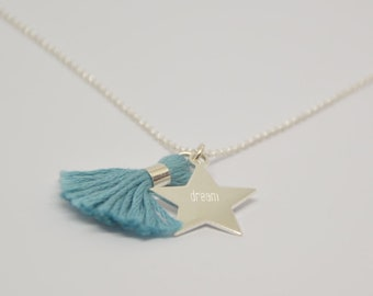 Personalized star necklace and tassel