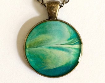 Sea Swept Abstract Acrylic Pendant With Antiqued Bronze Necklace
