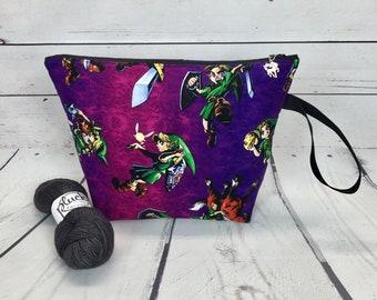 Purple Legend of Zelda / Link project bag for knitting or crochet
