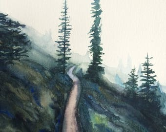 Pacific Northwest painting, pine tree painting, northwest landscape, landscape painting, mountain side, Misty trees, Misty mountain, Trees