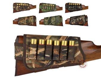 Shotgun Shell Cartridge Buttstock Holder 12 gauge Cheek Rest Hunting Stock Right Left Hand