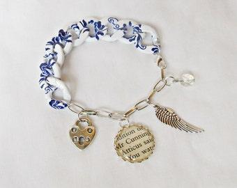 Atticus Finch Charm Bracelet - To Kill a Mockingbird - Blue White Porcelain Look Chunky