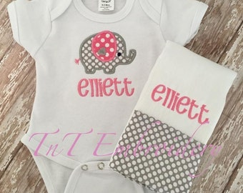Baby Girl Elephant layette set