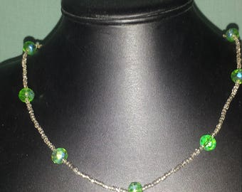 Green and silver necklace, 21 inch necklace, minimalist necklace, festive necklace, holiday necklace, beaded necklace, glass crystal