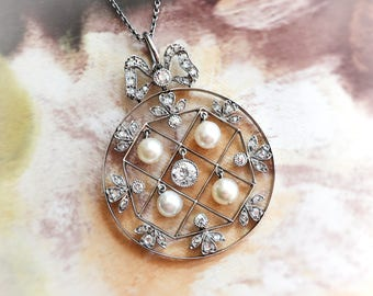 Antique Diamond Necklace 1915 Edwardian Old European Cut Diamond Seed Pearl Wedding Anniversary Necklace Pendant Platinum