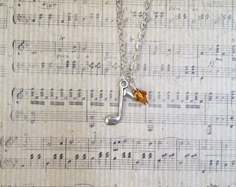 Music Note Charm Necklace with Swarovski Crystal Accent