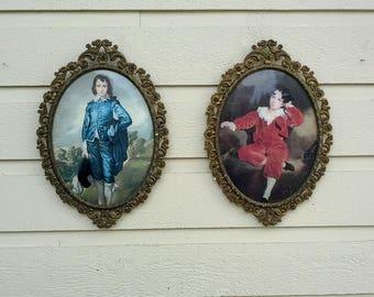 Cadre Vintage, Made in Italy, ensemble de deux, cadres photo en laiton original avec le verre, image de tableaux célèbres et velours original support.