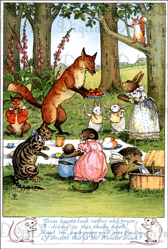 Animal Picnic Vintage Fun Postcard Digital Illustration
