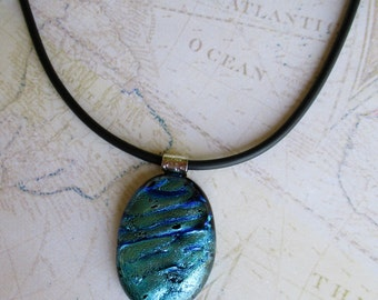 Women's dichroic glass pendant, fused glass pendant, fused glass necklace, dichroic glass jewelry in turquoise with a sterling silver chain