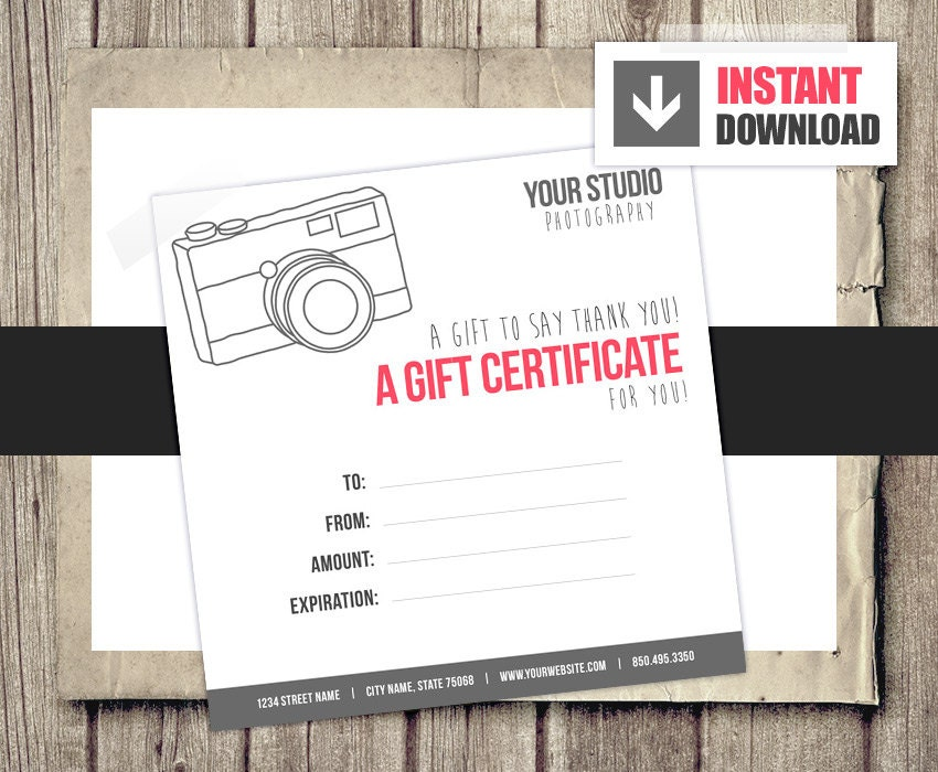 Gift card gift certificate template for photographers camera zoom yadclub Image collections