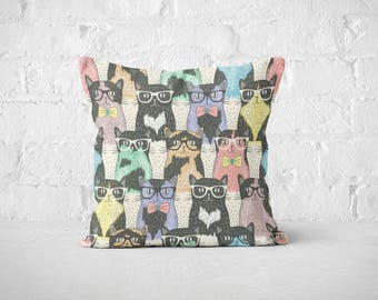 Hipster Cats Pillow Cases | Nerdy Cat Throw Pillow Covers | Accent Pillows | Bed Pillow Cases | Cat Lovers | Decorative Pillows | Funny Gift