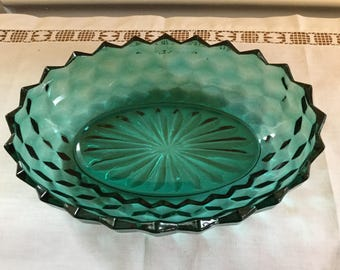 Vintage green glass bowl, geometric pattern,starburst bottom,sawcut rim