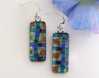 Blue Copper Fused Glass Earrings - Blue Gold Dichroic Glass Jewellery - Glass Jewellery - Fired Creations Glass - Purple Earrings - EE 706