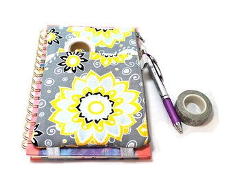 Journal Pouch Planner Pouch Pencil Pouch Planner Band Planner Accessory Bag - Yellow and White Flowers on Gray 9299