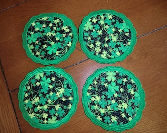 Large Quilted Embroidered Coaster - St Patrick's Day - Set of 4