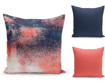 Coral Navy Pillow Cover, Abstract Art, Coral and Navy Decor, Home Decor, Accent Pillow Cover (A17) Decorative Pillow Cover Euro Sham Cover