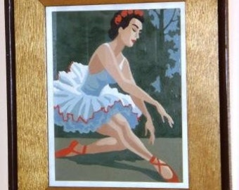 Retro PAINT by Number BALLERINA ... vintage wall art