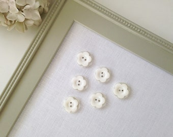 Vintage Button Magnets - White Flower Set of 6 Extra STRONG Magnets Magnetic Memo Bulletin Boards Shabby Chic Cottage Office Refrigerator
