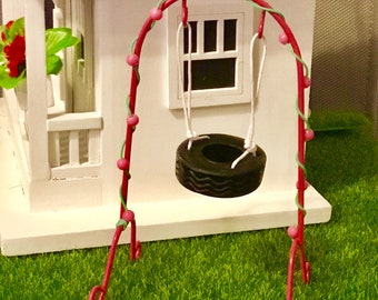 Dollhouse Miniature, Fairy Garden, Tire Swing on a Stand. 1:12 Scale