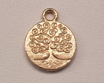 Gold filled Tree of Life Charm.  Double side