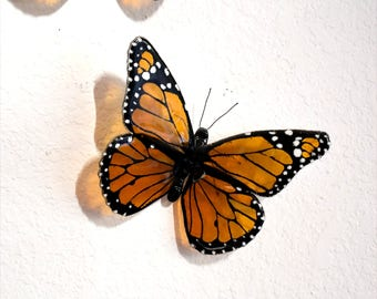 Monarch butterfly, fused glass, handmade, transparent amber, black, home decor, wall hanging