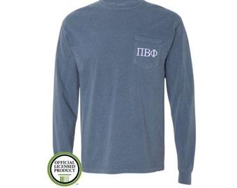 Pi Beta Phi Comfort Colors LONG Sleeve Pocket Tee, Greek gift, Sorority gift, Big and Little,  Pi Beta Phi, Pi Phi